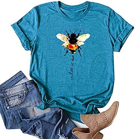 SatinGold Hart Praca PszczÓłka T-shirt krÓtki rękaw damska słodka koszula na lato prezent dla dziewcząt nastolatek modny okrągły kołnierz elegancka gÓrna część,