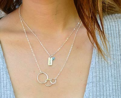 EFYTAL Mom 2 Children Necklace, Sterling Silver Three 3 Interlocking Infinity Circles, Mothers Day Jewelry Gift