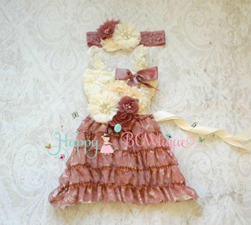Ivory Rose Embellished Girl Dress Set- Flower Girl Dress,Baby Flower Girl,Dusty Ivory Rose Lace Dress set,baby Girls,ruffle dress,Girls Dress,Girl,1st Birthday,Country Rustic (Embellished Ruffle)