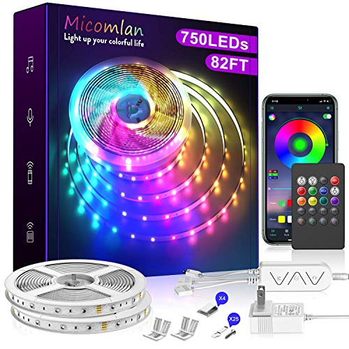 82 Ft/25m LED Strip Lights,Micomlan Music Sync Color Changing RGB LED Strip Built-in Mic, Bluetooth app Controlled LED Lights Rope Lights, 5050 RGB LED Light Strip(APP+Remote+Mic+Music +3 Button)