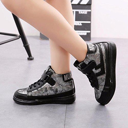 Hunpta Kinder Mode Mädchen Jungen Sport Warm Sneaker Lauf Freizeitschuhe Silber