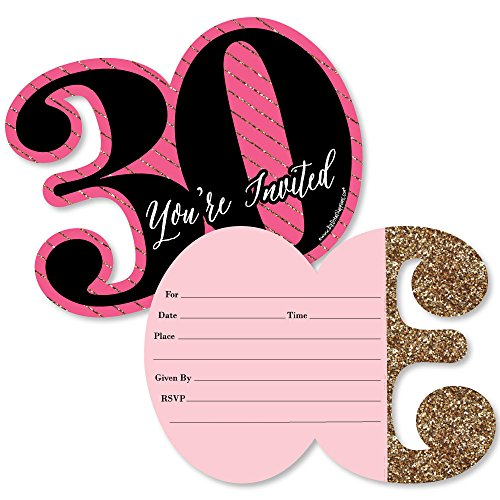 Chic 30th Birthday - Pink, Black and Gold