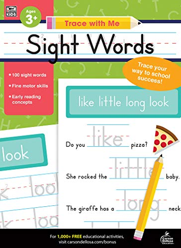 Carson Dellosa - Sight Words Activity Book for PK, K, 1st, 2nd Grade, Paperback, 128 Pages, Ages 4+ (Trace with Me)