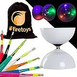 LED Big Top Bearing Diabolo Set with Coloured Superglass Fibre Diablo Sticks & Firetoys Cotton Bag! Select Stick Colour! Batteries Included