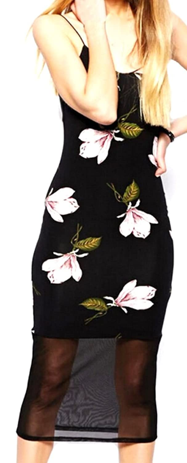 YUNY Women Sexy Mini Dress Floral Print Sling Sleeveless Backless