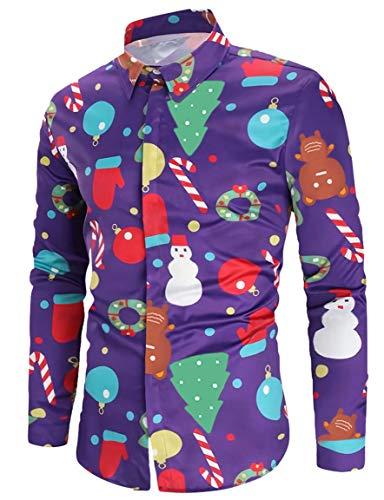 Men's Christmas Shirts Xmas Santa Snowmen Candy Cane Printed Purple Long Sleeve Dress Shirts -