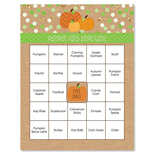 (Big Dot of Happiness Pumpkin Patch - Fall & Thanksgiving Party Game Bingo Cards - 16)