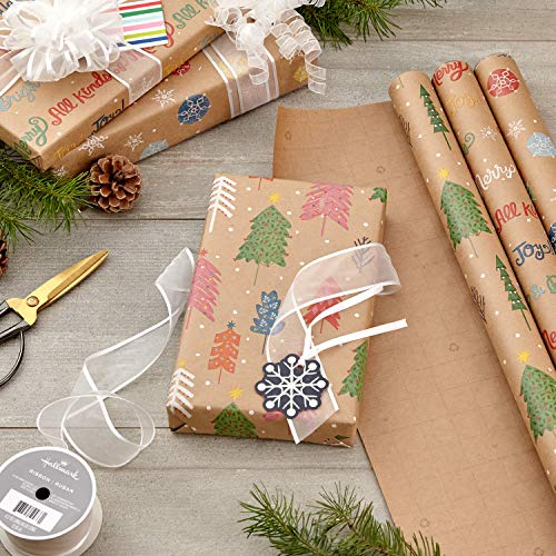 Hallmark Bright and Bold Christmas Sustainable Kraft Wrapping Paper with Cut Lines on Reverse (3 Rolls: 90 sq. ft. ttl…