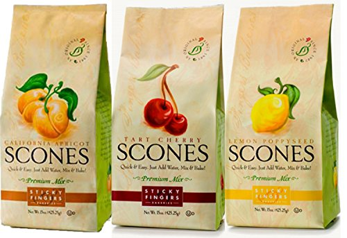 Sticky Fingers Premium All Natural Scone Mix Trio (Apricot, Tart Cherry, Lemon Poppyseed)