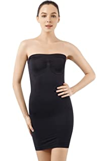 25b23028e6915 MD Women's Strapless Full Body Slip Shaper Seamless Smoother Tube Slip  Under Dresses