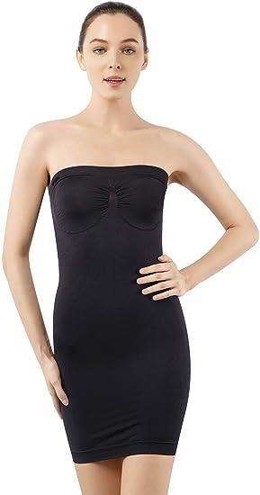 +MD Womens Strapless Full Body Slip Shaper Seamless Smoother Tube Slip Under Dresses Black//NudeXL