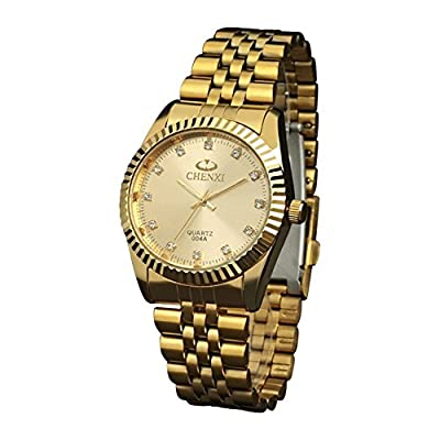 Fq-043 Classic Golden Stainless Steel Male Female Crystals Quartz Wrist Watches for Man Woman Gold by DREAMING Q&P