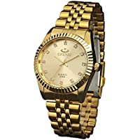Classic Golden Stainless Steel Unisex Luxury Quartz Wrist Watches,fq043 Men's Women's Gift Wristwatches Gold