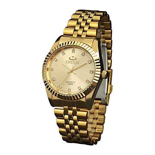 (Classic Golden Stainless Steel Unisex Luxury Quartz Wrist Watches,fq043 Men's Women's Gift Wristwatches Gold )