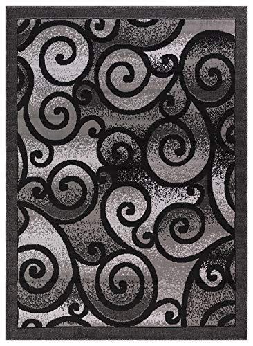"Princess Collection Geometric Swirl Abstract Area Rug, 5' 2"" x 7' 2"", 806 Light Grey/Black"