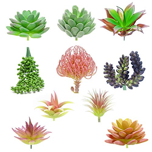 (Vie&Co | Artificial Succulent Plants 10 pcs | Fake Succulent Plants | Faux Plants | Silk Succulents Unpotted | Terrarium Realistic Fake Plants)