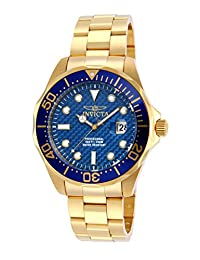 Invicta Men's 14357 Pro Diver Blue Carbon Fiber Dial 18k Gold Ion-Plated Stainless Steel Watch