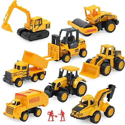 Juegos de Juguetes de construcción, Mini vehículos de 8 Piezas, Incluyendo Carretilla elevadora de Camiones Bulldozer...