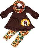 Angeline Boutique Clothing Girls Thanksgiving Turkey Vintage Floral Scarf Legging Set 7T/2XL