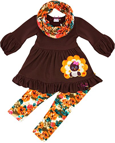 Angeline Boutique Clothing Girls Thanksgiving Turkey Vintage Floral Scarf Legging Set 7T/2XL by Angeline