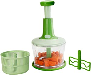 KENCOM Express large Food Chopper Quick and Powerful Manual Hand Held Chopper to Chop & Cut Fruits, Vegetables, Herbs, Onions for Salsa, Salad, Pesto, Hummus, Guacamole, Coleslaw, Puree