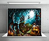 7X5ft (220x150cm) Halloween Photography Backdrop Party Photo Booth Backdrop Castle Pumpkin Rip Night Background Children,Adult