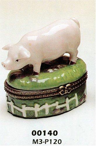 Porcelain Hinged Trinket Box Cute Fat Pig Farm Jewelry Gift