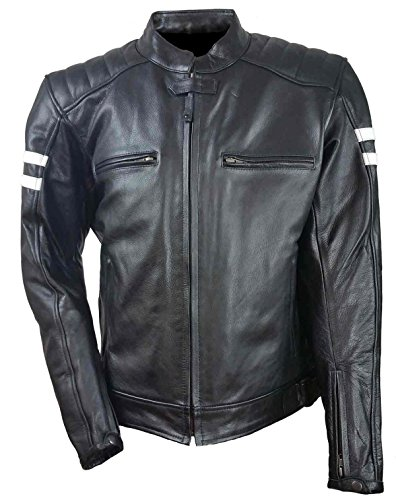 White Daytona Jackets - Vance Leather Men's Leather Vented Scooter Jacket with Two White Stripes