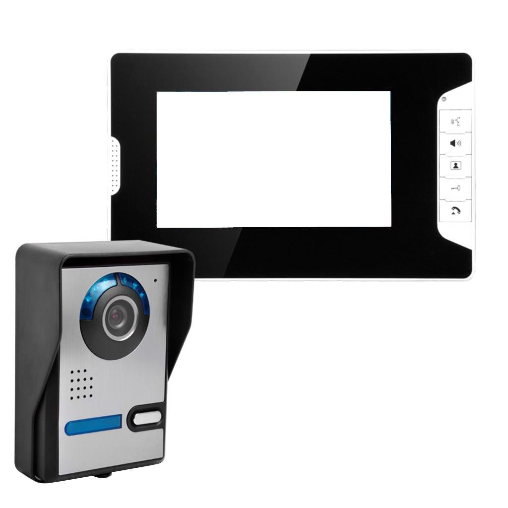 IPOTCH 7インチ 液晶 ビデオ ドア 電話 ドアベル ホーム インターホン システム 1カメラ 1モニター セット ブラック 防水性 B078K9X5B3