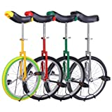 """Unicycle 18"""" Wheel with Large Saddle in Unique Design with Heavy Duty Unicyle Stand"""