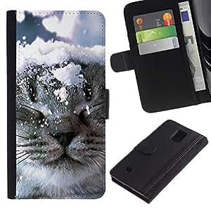EuroCase - Samsung Galaxy Note 4 SM-N910 - Norwegian forest cat snow winter kitten - Cuero PU Delgado caso cubierta Shell Armor Funda Case Cover