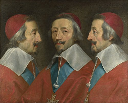 Cardinal Richelieu Costume (Oil Painting 'Philippe De Champaigne And Studio Triple Portrait Of Cardinal De Richelieu' 16 x 20 inch / 41 x 51 cm , on High Definition HD canvas prints is for Gifts And Game Room, Garage And decor)