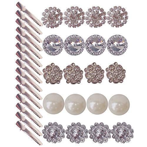 ombination Small Clear Rhinestone Buttons Alligator clip Crystal Glass Button Embellishments ()