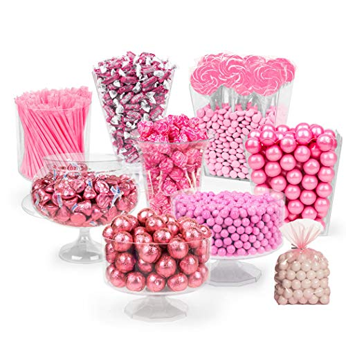 Breast Cancer Awareness Pink Candy Buffet - (Approx 14lbs) Includes Personalized Banner, Hershey's Kisses, Sixlets, Gumballs, Dum Dum Lollipops, Frooties & More