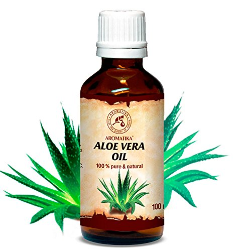 (Aloe Vera Oil 100ml - Aloe Barbadensis - Brasil - 100% Pure & Best for Skin - Body - Hair Growth - Face Moisturizer - Baby Oils - Used for Massage - Relaxation - Bath - Aromatherapy - by Aromatika)