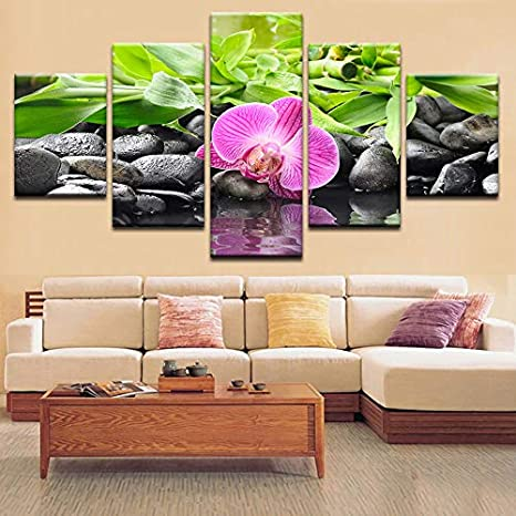 60x30, Ocean of Innocence Large 5 Pieces Butterfly Orchid Flowers Canvas Print Wall Art Painting Decor for Home Decoration Picture for Living Room Stretched Framed White Floral Artwork Everlands Painting
