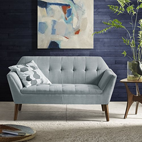 INK+IVY II106-0381 Newport Accent Armchair-Solid Wood Frame, Flare Arm Family Two Seat Loveseat Settee Modern Mid-Century Style Living Room Sofa Furniture, 59