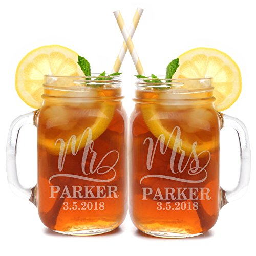 Set of 2, Personalized Mason Mug Set for Couples, Clear, Mr and Mrs Mason Jar Glasses - Custom Etched His and Her Gifts for Couples - Engraved for Free-1]()