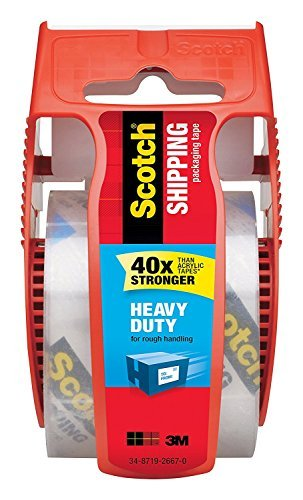 Scotch Heavy Duty Shipping Packaging Clear Tape, Red Dispenser 3Z5VSJ, 1.88 in x 22.2 yd, 4-PACK by Scotch