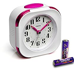 Battery Inclued, Peakeep Small Non Ticking Analog Alarm Clock with Nightlight and Snooze, Melody Sound Alarm, Simple to Set Clocks, White with Magenta