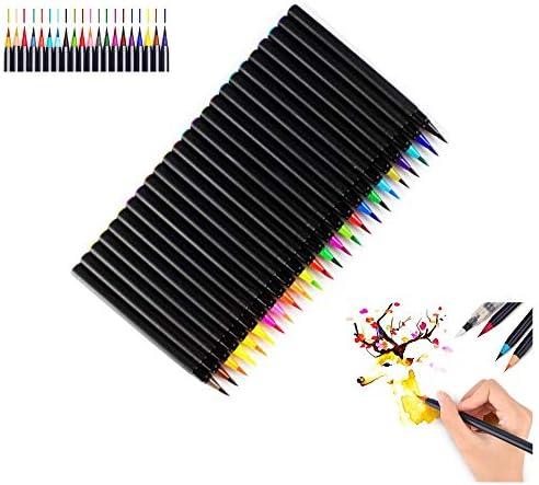 筆ペン Southstar カラー筆ペン 24色セット 水彩ペン 筆ペンカラー 水彩毛筆 水性筆ペン カラーペン 絵描き 塗り絵用