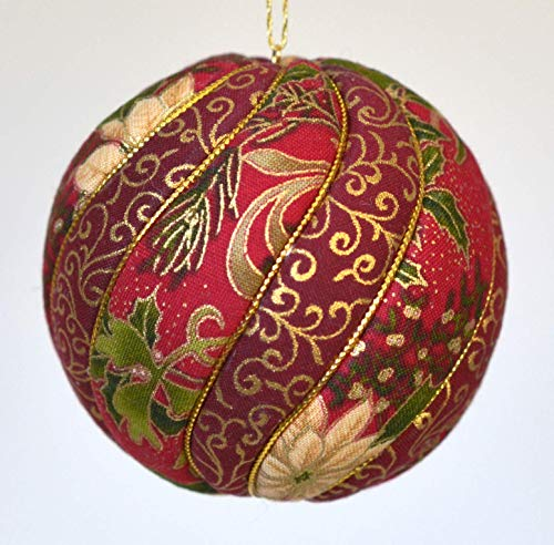 (Christmas Ornament in Red, Green and Gold Poinsettia Print Fabric, 3