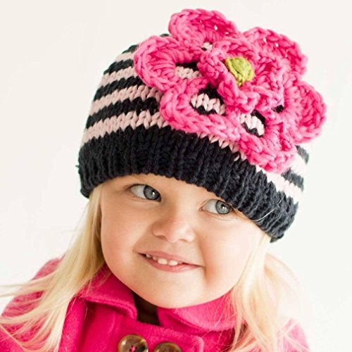 Flower Knit Beanie (Huggalugs Baby and Toddler Girls Pink & Navy Striped Flower Beanie Hat S)