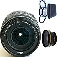 Canon 18-135mm IS STM Lens (WHITE BOX) + 4pc Macro Lenses Set (+1 +2 +4 +10) + High Definition Wide Angle Auxiliary Lens