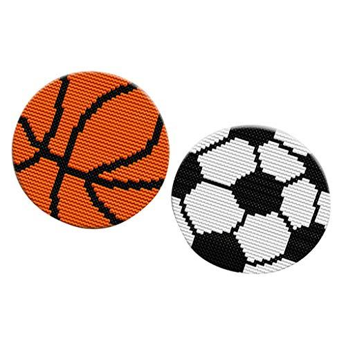 Fityle 2 Sets Latch Hook Rug Kits - Round, Sports Pattern, 27x27cm 2 Latch Hook Pattern