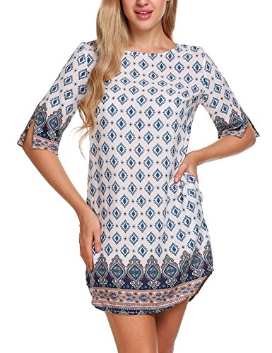 ACEVOG Womens Bohemian Vintage Printed Ethnic Style Back Cut-Out Casual Tunic Dress