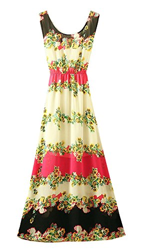 StylesILove Mixed Print Women Chiffon Beach Maxi Dress (Fuchsia)