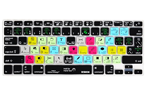 XSKN Macbook Shortcuts Design Series Adobe Hotkey Macbook Hot keys Silicone Laptop Keyboard Skin Cover for Macbook 13 Macbook 13 15 17, US&European Layout (InDesign)