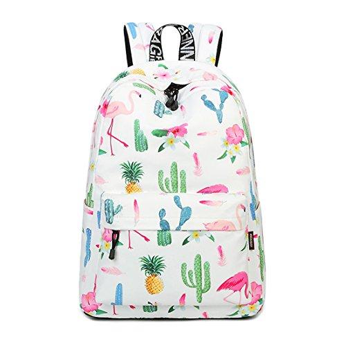 Joymoze Waterproof Cute School Backpack for Boys and Girls Lightweight Chic Prints Bookbag Flamingo