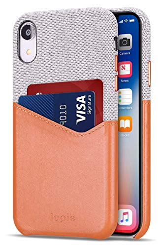 Lopie [Sea Island Cotton Series] Slim Card Case Compatible for iPhone Xr 2018, Fabric Protection Cover with Leather Card Holder Slot Design - Light Brown